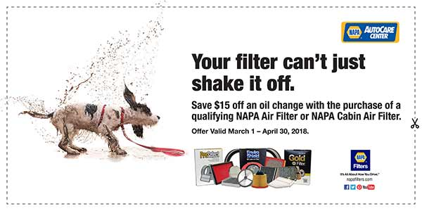 NAPA Filters - $15 Off Oil Change with purchase of air filter or cabin filter