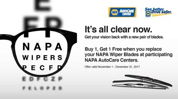 NAPA Wiper Blades Buy One Get One FREE
