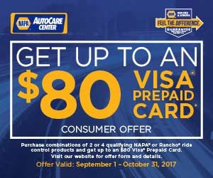 Get up to $80 back on NAPA Shocks and Struts