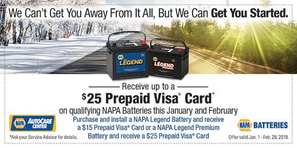 $25 Back On NAPA Battery