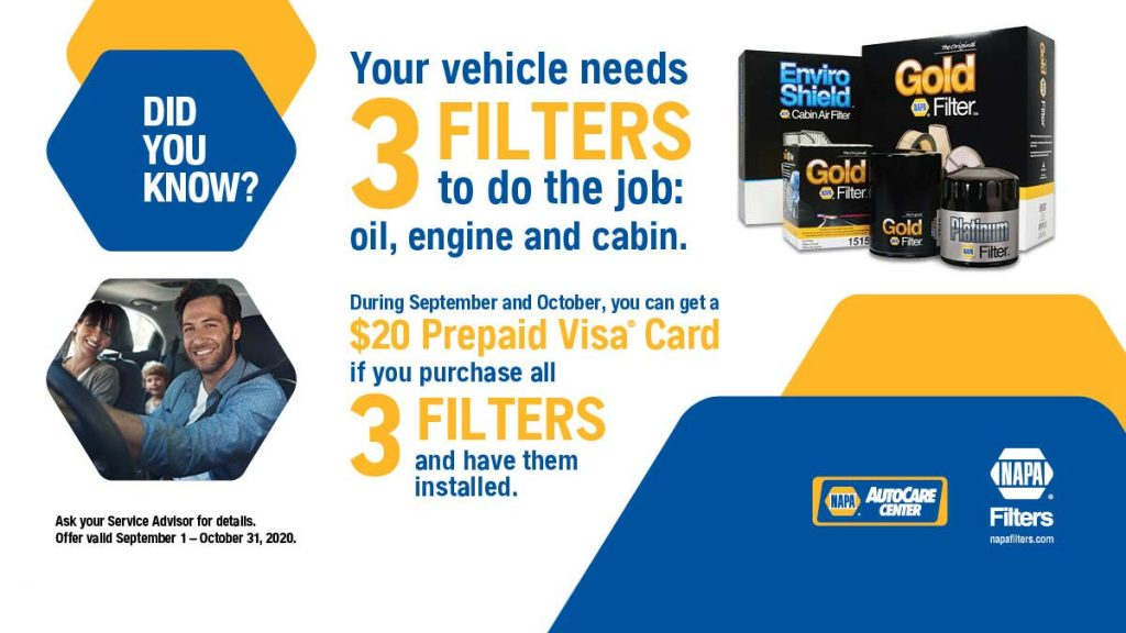 3 filters - Oil filter, Engine air filter, cabin filter